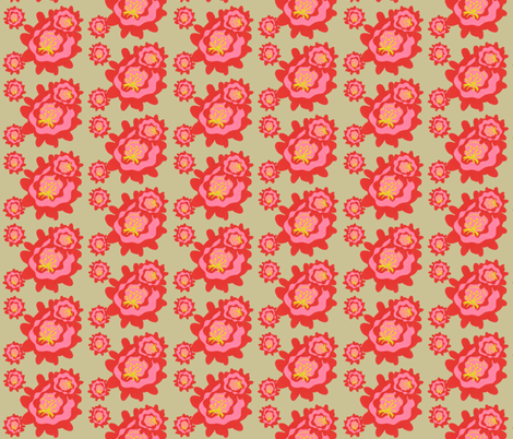 Cactus Blooms on Sand Background fabric by owlandchickadee on Spoonflower - custom fabric