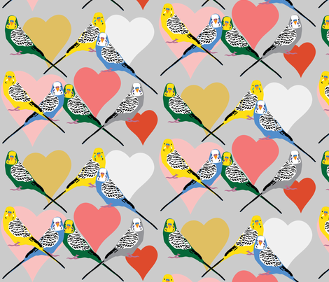 Love Budgies - 5 fabric by owlandchickadee on Spoonflower - custom fabric