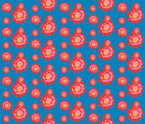 cactus_blooms_blue_bg fabric by owlandchickadee on Spoonflower - custom fabric