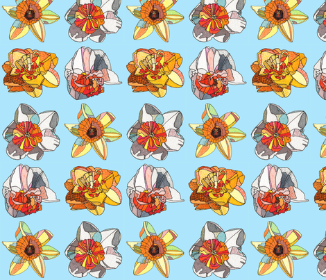 daffodils in blue fabric by aprilmariemai on Spoonflower - custom fabric