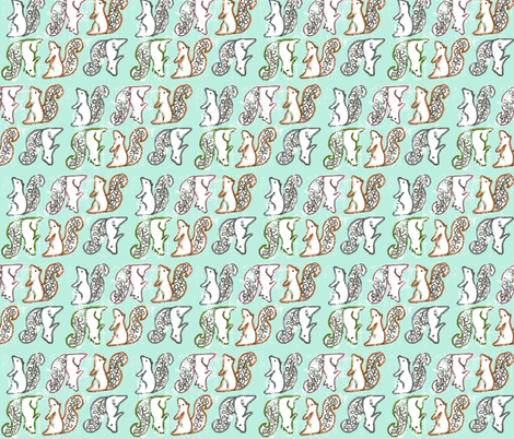 Swirly Squirrels fabric by morgan_cox on Spoonflower - custom fabric