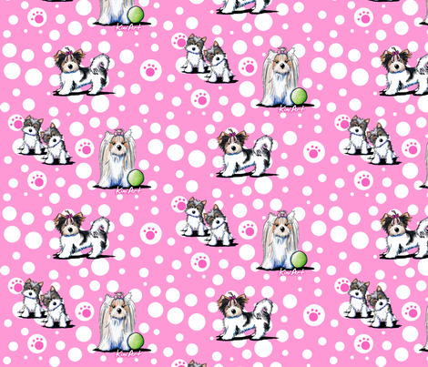 LG Biewer Yorkie Terriers On Pink fabric by kiniart on Spoonflower - custom fabric