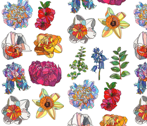 assorted flowers on white fabric by aprilmariemai on Spoonflower - custom fabric