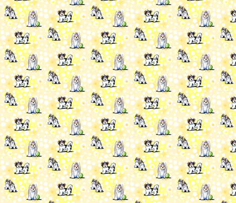 Small Biewer Yorkies On Yellow fabric by kiniart on Spoonflower - custom fabric