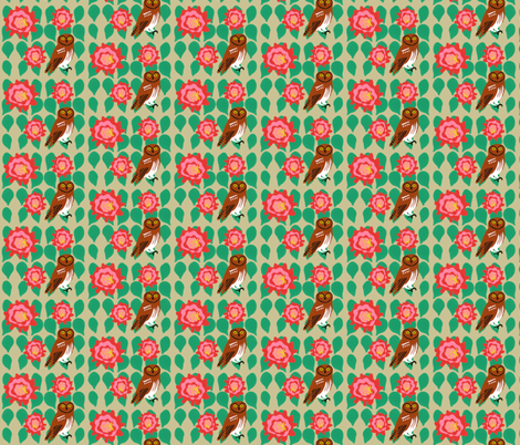 cactus_flower_elf_owl_1 fabric by owlandchickadee on Spoonflower - custom fabric