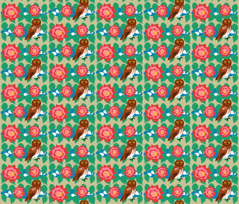 Elf Owl and Cactus Bloom fabric by owlandchickadee on Spoonflower - custom fabric