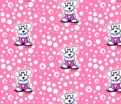 LG Maltese Sweetheart On Pink fabric by kiniart on Spoonflower - custom fabric