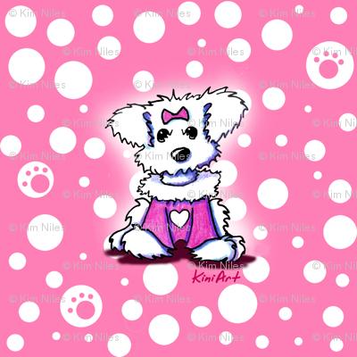 LG Maltese Sweetheart On Pink