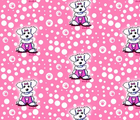 LG Maltese Sweetheart On Pink fabric by kiniart on Spoonflower - custom fabric