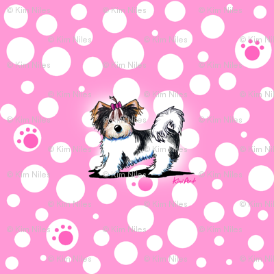 Small Biewer Yorkie Girl On Pink