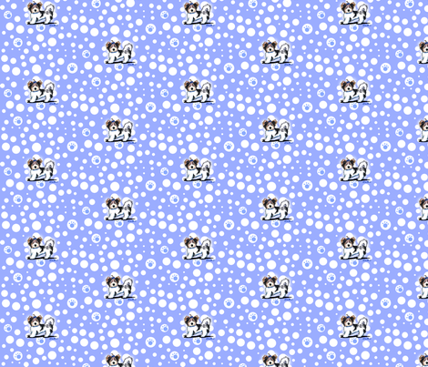 Small Biewer Yorkie Boys On Blue fabric by kiniart on Spoonflower - custom fabric