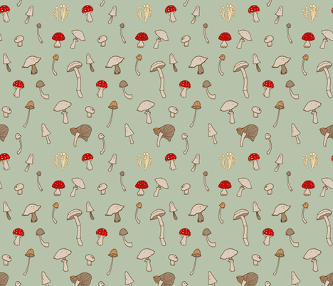 Shrooms 2 fabric by jadegordon on Spoonflower - custom fabric