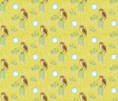 Desert Owl - © Lucinda Wei fabric by lucindawei on Spoonflower - custom fabric