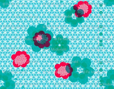 shibori large floral teal j