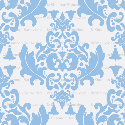 Damask- Light Blue on White