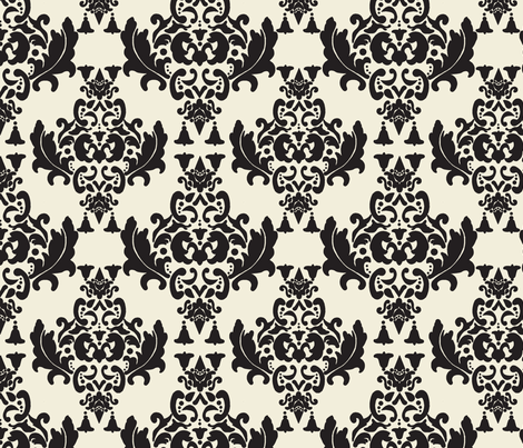 Black and Cream Damask fabric by mayabella on Spoonflower - custom fabric