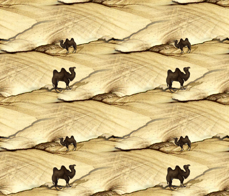 If a Camel Meets a Camel a'Coming Through the Sand fabric by peacoquettedesigns on Spoonflower - custom fabric