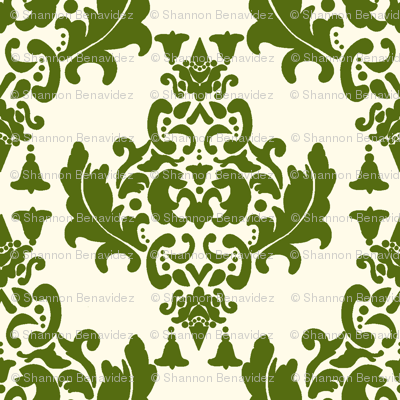 Olive Green on Cream Damask