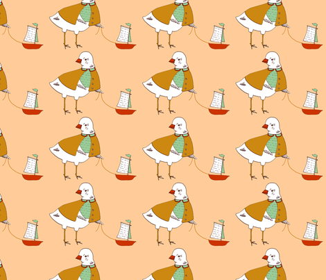 miss bird's boat fabric by mummysam on Spoonflower - custom fabric