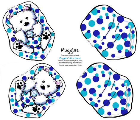 Muggles Westie Doll Panel fabric by kiniart on Spoonflower - custom fabric