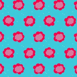 shibori red flower teal j