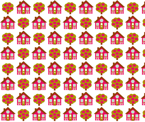 House_Rpt-Pink fabric by aliceapple on Spoonflower - custom fabric