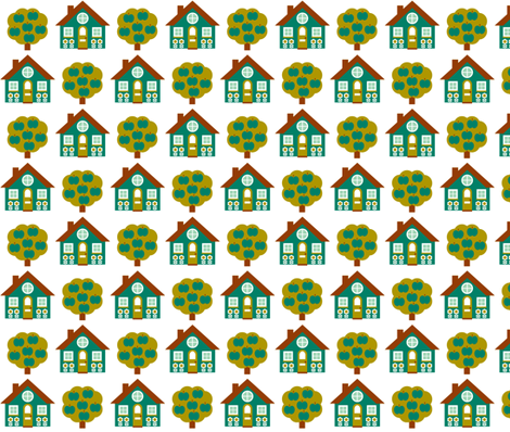 House_Rpt-Teal fabric by aliceapple on Spoonflower - custom fabric