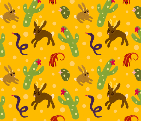 Jackalopes love the Sun fabric by jordan_elise on Spoonflower - custom fabric