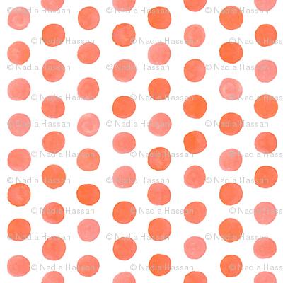 Small Watercolor Dots: Coral