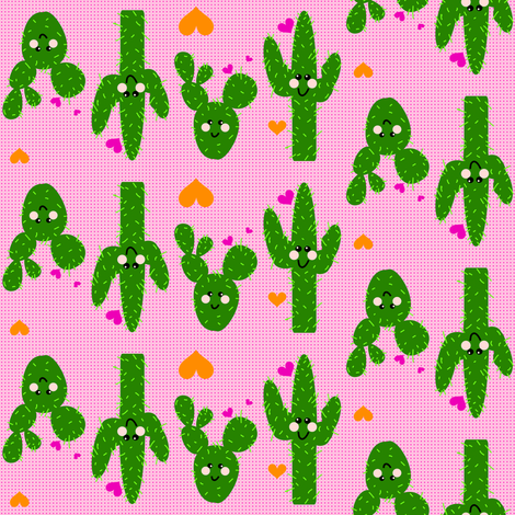 Happy LiL' Cactus! - © PinkSodaPop 4ComputerHeaven.com  fabric by pinksodapop on Spoonflower - custom fabric