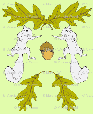 Squirrel Fight Damask Full Color