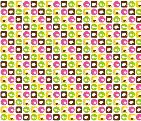 mini kiwi bird parade-pink fabric by clearlytangled on Spoonflower - custom fabric