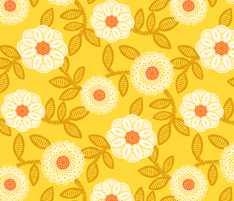 doilies - mustard fabric by cheyanne_sammons on Spoonflower - custom fabric