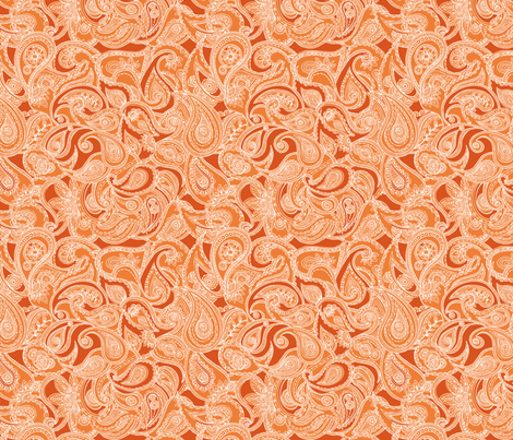 Paisley in orange fabric by valentinaramos on Spoonflower - custom fabric