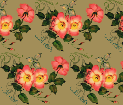 Wild Roses Peach fabric by paragonstudios on Spoonflower - custom fabric