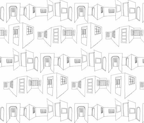 windows_doors_sketch fabric by hollishammonds on Spoonflower - custom fabric
