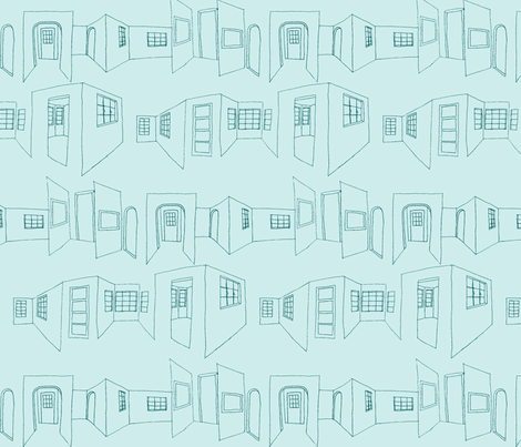 windows_doors_sketch-blue fabric by hollishammonds on Spoonflower - custom fabric