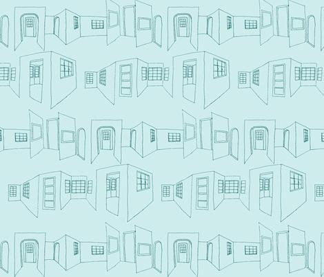 windows_doors_sketch-blue fabric by hollishammonds on Spoonflower - custom fabric