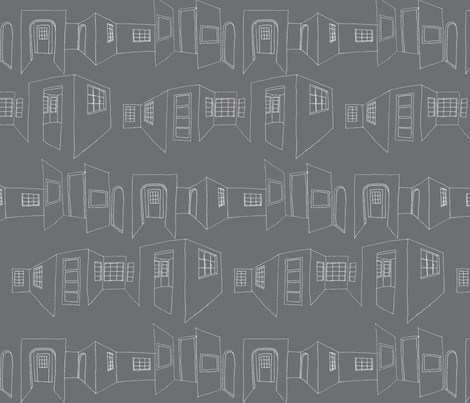 windows_doors_sketch-gray fabric by hollishammonds on Spoonflower - custom fabric
