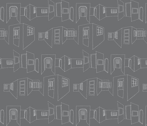 windows_doors_sketch-gray fabric by hollishammonds on Spoonflower - custom fabric