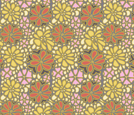 Bursting blossoms in grey fabric by mytinystar on Spoonflower - custom fabric