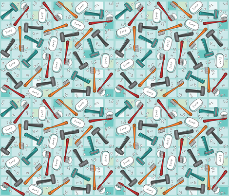 Stuff for Dudes-Get Clean Smell Good fabric by cynthiafrenette on Spoonflower - custom fabric