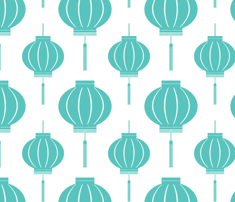 Lantern (Foo Blue) fabric by blackpomegranate on Spoonflower - custom fabric