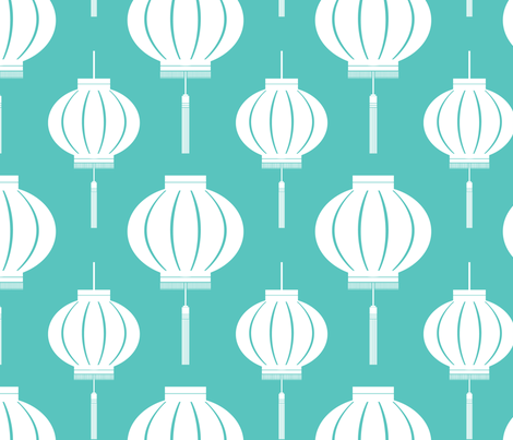 Lantern Reverse (Foo Blue) fabric by blackpomegranate on Spoonflower - custom fabric