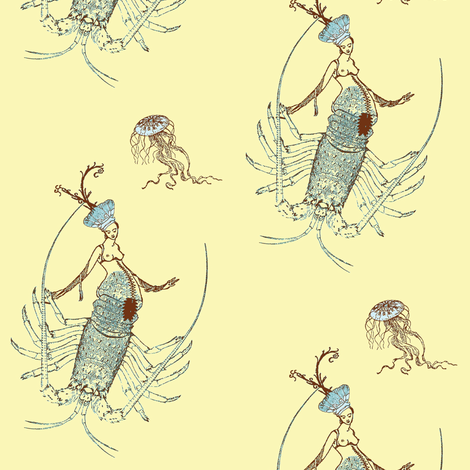 Lobsterish Lady Two fabric by nalo_hopkinson on Spoonflower - custom fabric