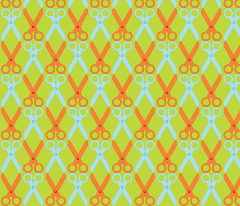 Orange/Blue Scissors fabric by audreyclayton on Spoonflower - custom fabric