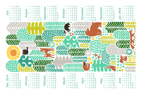 forest friends calendar 2015, mountain fresh fabric by dennisthebadger on Spoonflower - custom fabric