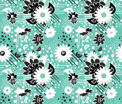 Floral Pow in Mint fabric by dolphinandcondor on Spoonflower - custom fabric
