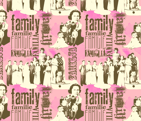 FamilyForever-Pink fabric by tammikins on Spoonflower - custom fabric