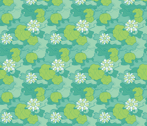 Tranquil Water Lily fabric by jillianmorris on Spoonflower - custom fabric